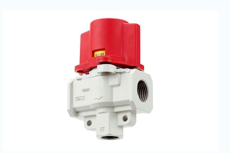 Pressure relief 3 port valve with locking holes